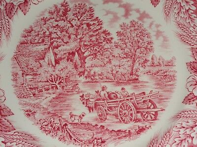 Broadhurst Pottery Small Dinner Salad Plate Constable Series Pink Red
