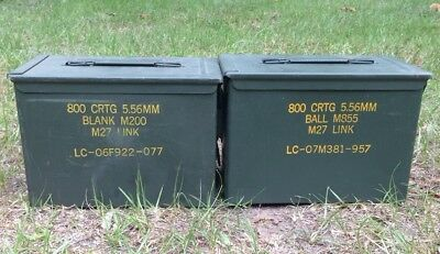( Lot of 2 ) FAT 50 SAW Ammo Cans Original US Military Surplus