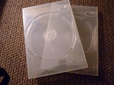 "5/8"" 14 mm Double DVD Case Movie Box Clear Frosted New for 2 discs BUY 1 SINGLES"