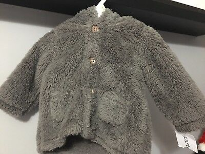 Carter's Baby Unisex  Furry Teddy Hooded Coat Jacket 3 Month -Sherpa