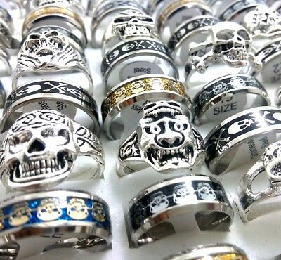 Skull Mix 50PCS Men's Punk Rock Biker Stainless Steel & Alloy Skeleton Rings