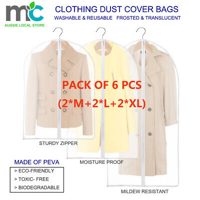 2x Suit Dress Clothing Dust Cover Bags Jacket Wardrobe Storage Coat Protector