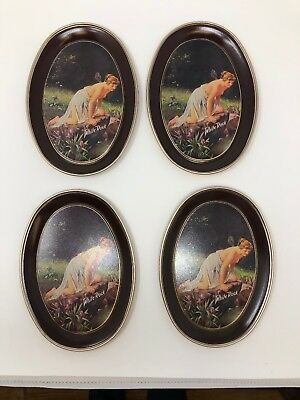 "Vintage White Rock Fairy Lady 6"" Tin Tray Set Of 4 In Box"