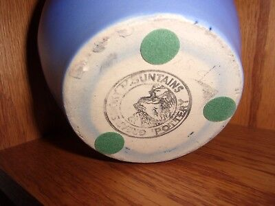 Mint Vintage Rare Smoky Mountain Pottery Arts Crafts Style Blue Flower Frog Vase