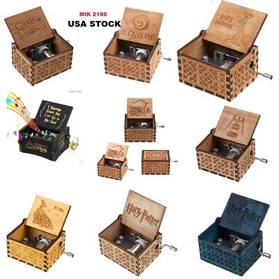 Retro Wooden Music Box Antique Hand Crank Birthday Engraved Toys Kids US