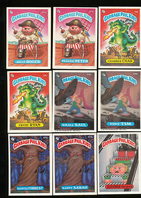 13 - Lot Of 9 Vintage Garbage Pail Kids Trading Stickers Cards '87 Cabbage Patch