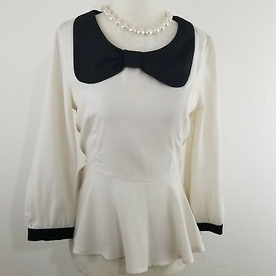 Forever 21 Dressy Blouse Solid Black Long Button Sleeves Size M