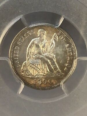 1890 10C Seated Liberty Dime, PCGS MS62