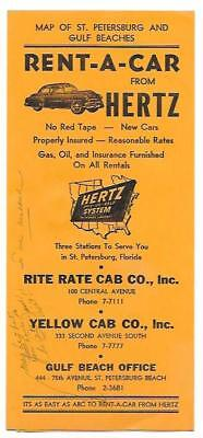 1950's Hertz Rent a Car Map St. Petersburg and Gulf Beaches Florida