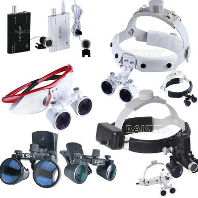 Dental Portable Magnifier Surgical Medical Binocular Loupes LED Head Light lamp