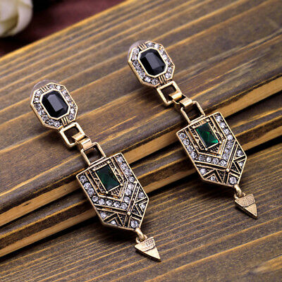 Vintage Art Deco Style Dangle Diamante Crystal Earrings Gold Tone Wedding Green