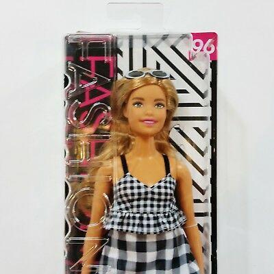 """Barbie Fashionistas Curvy Doll 96 Check Me Out Outfit Blond 11"""" Gingham Dress"""
