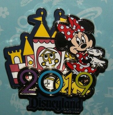 Disney Parks 2019 Logo Disneyland Minnie Mouse in front of Small World Pin