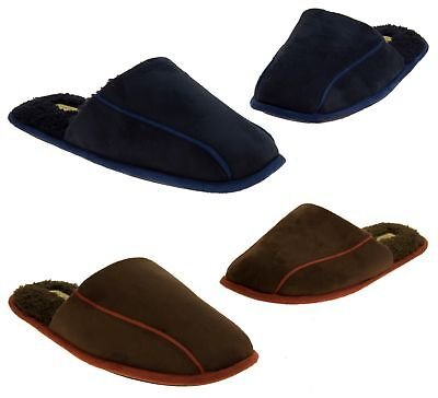 Mens Coolers Immitation Fur Lined Padded Mule Slippers Sizes UK 7 8 9 10 11 12
