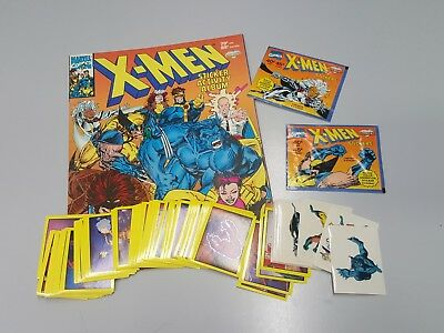 X-Men Incomplete Unpasted Sticker Set + Album & Wrappers 1993 Diamond