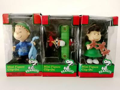 3pcs Peanuts Mini Figure Clip on Lucy Pilot Snoopy Christmas Ornament BIN