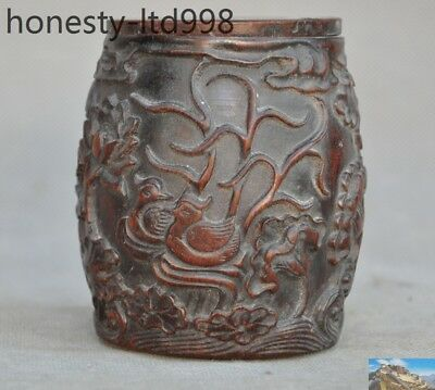 Collect China Natural Old Ox Horn Carved mandarin duck fish Lotus Drum Box Boxes