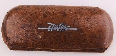 Vintage Miller Detroit Optical Glasses Case Art Deco Mid Century Metal Inlay