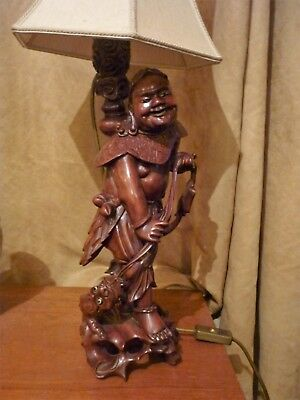 Antique superb carved wood Chinese fisherman deity table lamp c1900 VGWO