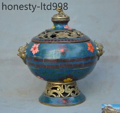 Metalware Chinese Antique Cloisonne Hand-made Lion Incense Burner Qianlong Year Volume Large Antiques