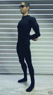 "Male Clothes 1/6 Black Men's Slim tight stretch leotard Clothing F 12"" Figure"