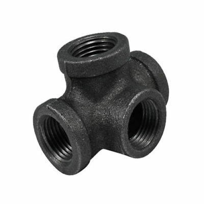 "3/4"" 4-Way CROSS TEE BLACK MALLEABLE IRON fitting pipe npt Decor Style"