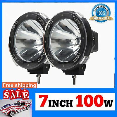 2x HID Xenon Spot Beam Bulb Driving Off road 7Inch Working Light Lamp 100W 12V Q