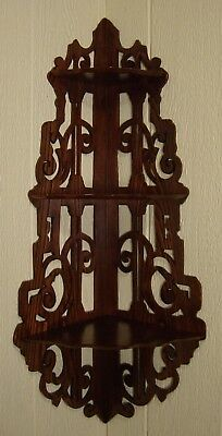 Antique Chestnut Victorian Pierce Cut Hanging Corner What Not Shelf
