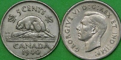 1940 Canada Nickel Graded as Extra Fine