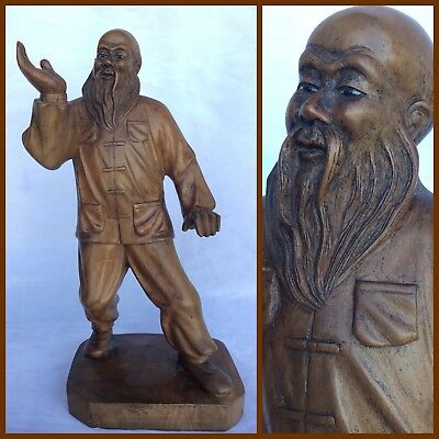 EXQUISITE Hand Carved CHINESE TAI CHI MASTER STATUE Kung Fu ORIENTAL Blackwood