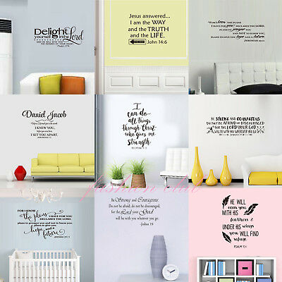 Bible Verse Wall Stickers Decals Vinyl Religious Christ Quote Inspiration Decor