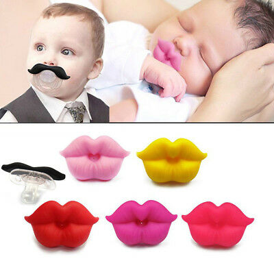 Funny Moustache Lip Dummy Dummies Pacifier Novelty Baby Child Soother Beard