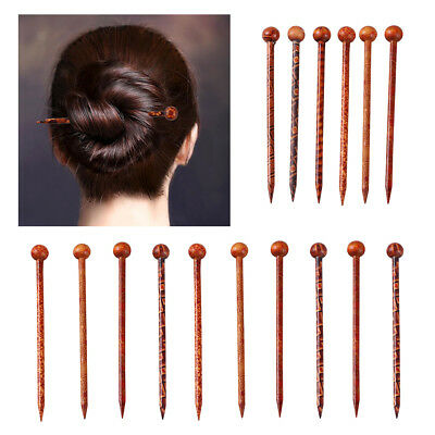 16 pcs Printed Wooden Hair Stick Hair Pin Women Ladies Hair Accessories 13cm