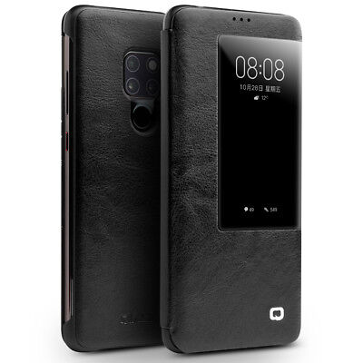 QIALINO View Window Cowhide Leather Smart Shell for Huawei Mate 20