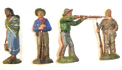 4 Wildwest - Masse-Figuren Lineol um 8 cm. hoch    #113