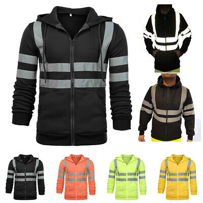 HI VIS Reflective Tape Hooded Jacket FullZip Safety Hoodie Workwear Jumper Tops