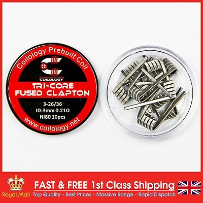 Tri-Core Fused Clapton Pre-Made Coils NI80 (3-26/36) by Coilology (10 Coils)