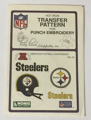 Pretty Punch NFL-04 Steelers Hot Iron Transfer Pattern NFL Punch Embroidery 1987