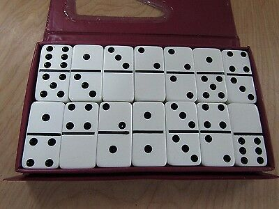 Double Six JUMBO DOMINOES Set of 28 Marbleized CARDINAL White Black Dots