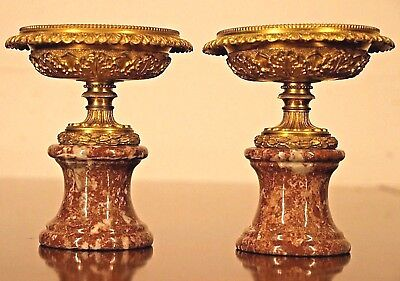 Antique gilt ormolu urns French Empire Napoleon tazza marble bronze vases 1825
