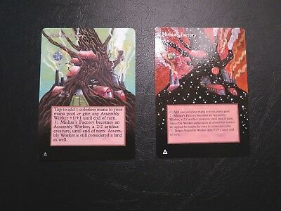 MTG ALTERED 2X 2X 2X Mishra's Factory Spring (Antiquities)+Fall (4th ed?)