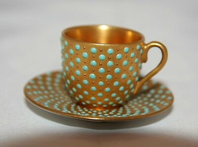 "Coalport Miniature ""jewelled"" Cup And Saucer Gold With Turquoise Beads - A/f"
