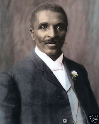"""George Washington Carver African American 1906 8X10"""" Hand Color Tinted Photo"""
