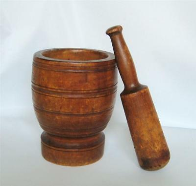 Antique Wood Mortar And Pestle Turned Treen Ware Large 19th Century Apothecary