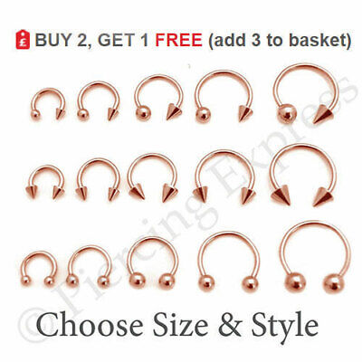 ROSE GOLD Horseshoe Bar Circular Barbell Steel Nose Septum Nipple Ear Ring Hoop