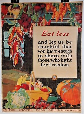 "1918 WW1 Art Poster ""EAT LESS"" U.S. Food Admin~Fall Harvest~Artist Alice Hendee"
