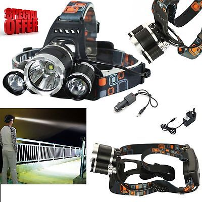 12000LM Lumens 3 x XML CREE T6 LED Rechargeable Head Torch Headlamp Light Lamp