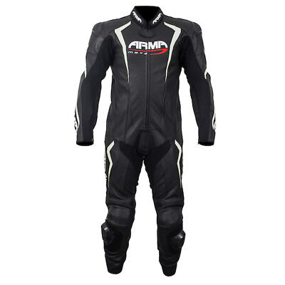 Armr HARDA S Black/White One Piece Motorcycle Racing Leather Suit - Black/White