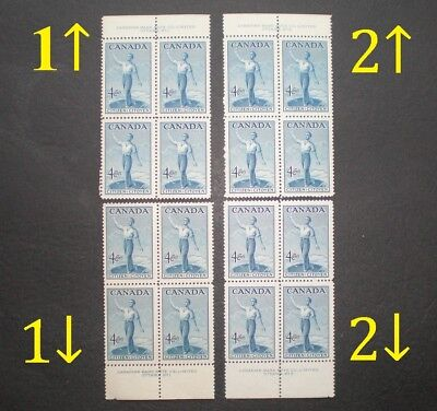 1947 4¢ Confederation Mint with Full Gum NH 4 different Plate Block