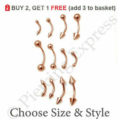 ROSE GOLD Curved Barbell Eyebrow Bar Banana Piercing Steel Ball Cone All Sizes